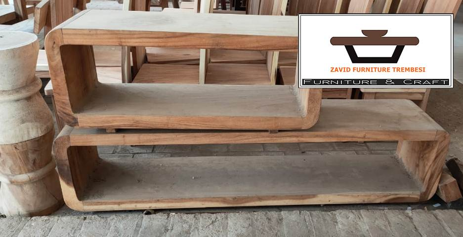 meja tv kayu trembesi solid