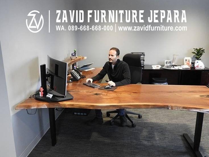 Jual Meja Kerja Kantor Kayu Trembesi Minimalis Modern