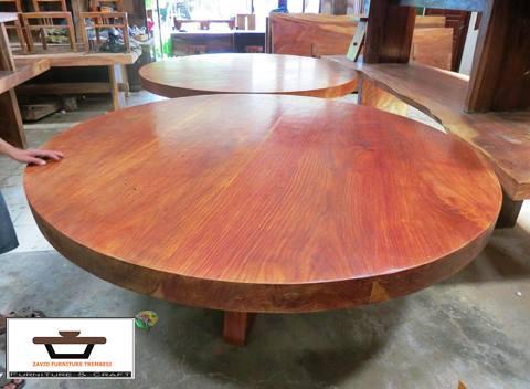 meja kayu bulat mahoni