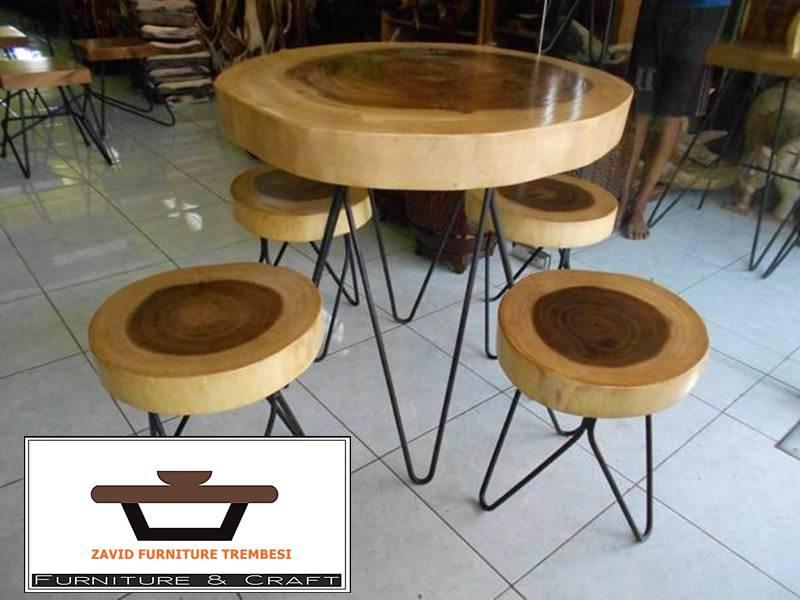 meja trembesi kaki besi solid