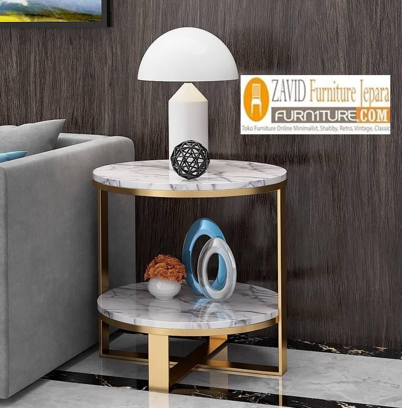 Jual Meja Sudut Marmer Desain Minimalis Unik Terbaru