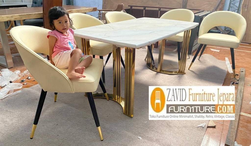 Jual Meja Makan Marmer Kaki Stainless Gold Model Terbaru Terpopuler