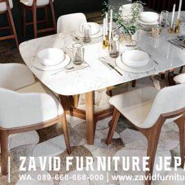 Meja Makan Marmer Carrara Putih Import Italy Style
