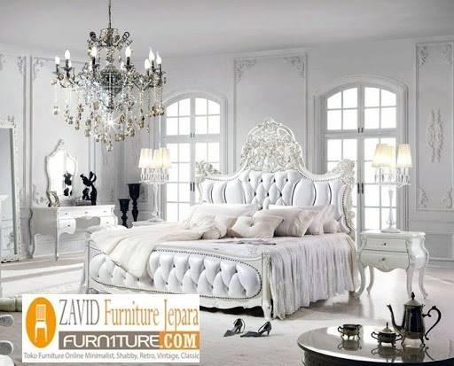 Jual Tempat Tidur Mewah Ukiran Cat Duco Putih Terpopuler